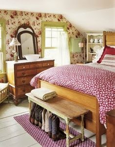 Farmhouse bedroom. Love this and wish it was my bedroom.