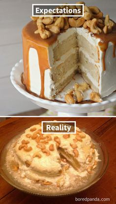 Expectations Vs Reality: 100 failed attempt to make a cake – Funnyfoto Bad Cakes, Food Fails, Expectation Vs Reality, Funny Cake, How To Make Cake, No Bake Cake, Funny Pictures, Decorated Cakes, Baking