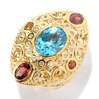 Don't be afraid of color....it is Mother Nature's legacy to us.  Live it and love it!  Dallas Prince 4.56ctw Swiss Blue Topaz & Gemstone Marquise Shaped Ring ShopNBC.com