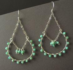 Beaded Earrings, Large Dangle Earrings, Chandelier Earrings, Sterling Silver, Chrysoprase - Riviera Earrings. $69.00, via Etsy.
