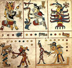 The Codex Fejérváry-Mayer is an Aztec Codex of central Mexico. It is one of the rare pre-Hispanic manuscripts that have survived the Spanish conquest of Mexico. As a typical calendar codex tonalamatl dealing with the sacred Aztec calendar – the tonalpohualli – it is placed in the Borgia Group. Its elaboration is typically pre-Columbian: it is made on deerskin parchment folded accordion-style into 23 pages. It measures 16.2 centimetres by 17.2 centimetres and is 3.85 metres long.