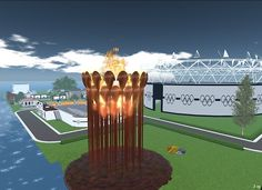 A recreation of London's Olympic Park in Second Life.  Click through to find a landmark.