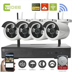 CNHIDEE 4 Channel WiFi Wireless Security Camera System
