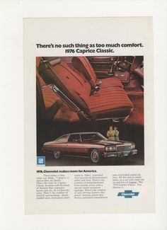 =-=1976 Chevy Caprice Classic Advertisement from a 1975 Magazine