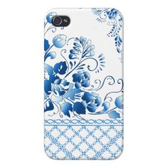 Navy Blue  Flowers iPhone 4/4S Cases
