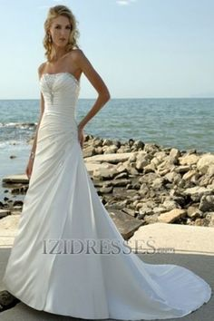 A-Line Trumpet/Mermaid Empire Sweetheart Strapless Chiffon Beach Wedding Dresses at IZIDRESSES.com