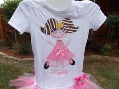 EXCLUSIVE Ballerina Birthday Applique Tutu Tshirt by BubbleBabys, $33.95