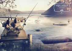 When I grow up I want to be a fisherman for aquariums.  Advertising Agency: DLVBBDO, Milan, Italy Creative Directors: Federico Pepe, Stefania Siani Art Director: Matteo Pozzi Copywriter: Dennis Casale Illustrators: Davide Calluori, Daniele Tribi Graphic Designer: Lorenzo Piccinini Published: September 2013