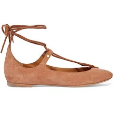 Chloé - Lace-up Suede Ballet Flats ($310) ❤ liked on Polyvore featuring shoes, flats, light brown, flat pumps, suede shoes, lace up flats, ballet flats and ballerina flat shoes