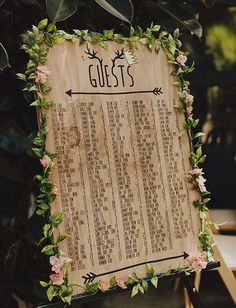 modern seating chart surrounded by flower garland