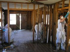 Technicians cleaning mould in a home