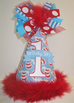 Personalized Cat in the Hat  Birthday Party hat by DoodlesDotsnDimples, $13.25  http://www.etsy.com/shop/DoodlesDotsnDimples