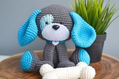 (4) Name: 'Crocheting : Domino The Dog Amigurumi Crochet Pattern