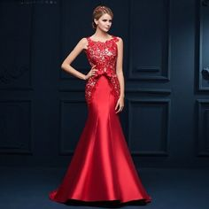 New Arrival 2015 Seductive Red Lace Mermaid Evening Dress Long Formal Gowns  Lace Up robe de soiree(China (Mainland)) 19531b59fd73