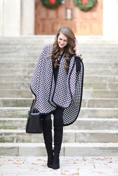 Southern Curls & Pearls: Houndstooth Cape + My Outfit is 25% Off!...Love the boots!