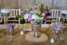 Rustic Purple Wedding Table Flowers & Decor Photographer: Lauren Kriedemann Venue: Rickety Bridge