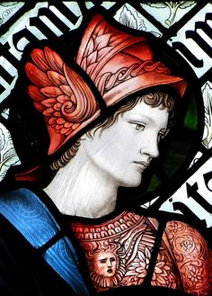 Tamworth, Staffordshire Chapel of St George, north window (easternmost) by Morris and Co, 1903 : detail - St Martin, by Edward Burne-Jones