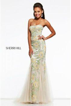 Yellow Open Back 1709 Long Prom Dress Sherri Hill