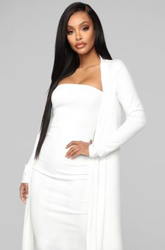 Never Looking Back 2 Piece Dress - White Dress Outfits, Fashion Dresses, Cute Outfits, Classy White Dress, Pretty Pregnant, Baby Shower Dresses, Dress With Cardigan, Tube Dress, Photos Of Women