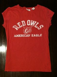 American Eagle Outfitters Juniors Sheer Red Owls Cotton T Shirt Great Condition! http://www.ebay.com/sch/miss.muckduck/m.html?_nkw=&_armrs=1&_from=&_ipg=&_trksid=p3686