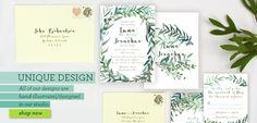 Leafy wedding invitations