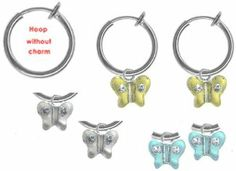 Set of 3 Girls Butterfly Non Pierced Clip on Hoop Earrings BodySparkle JR. $11.97. Perfect stocking stuffers. Packaged in abeautiful gift bag. Look for our complete earring collection over 50 styles available for kids. Rhodium plated non pierced clip on hoops. Set of 3 colors clear- aqua - yellow