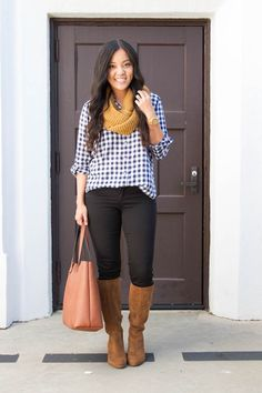 7 Ways to Wear a Navy Gingham Button Up for Fall | Putting Me Together | Bloglovin'