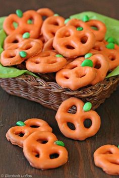 These candy-coated cuties take just three ingredients to make. Swap out the minis for giant twists if you want a patch of bigger pumpkins. Click through for the recipe and more Halloween treats to serve up at this year's Halloween party.