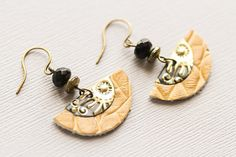 Half Circle Earrings with Gold and Black by MusingTreeStudios