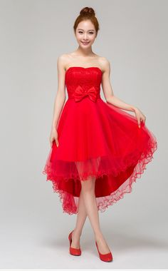 short red bridesmaid dresses romantic