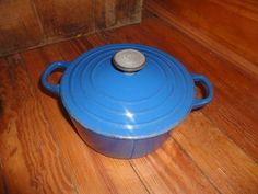 Vintage Le Creuset Model B Blue 2 Quart Qt Stock Pot Cast Iron Enamel Casserole