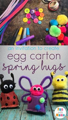 These adorable spring bugs are a fun craft made with simple craft supplies and recycled materials. A fun activity for exploring colors & textures. via @funwithmama