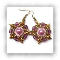 Purple Star Flower Earrings with Pearl and by CreativeTreasuresUK, £12.00