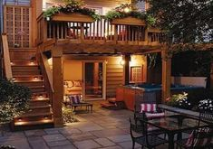 Second floor deck with stairs. Second Floor Porch. second floor patio Patio Under Decks, Decks And Porches, Back Patio, Backyard Patio, Pergola Patio, Balcony Deck, Under Deck Landscaping, Backyard Deck Ideas On A Budget, Desert Backyard