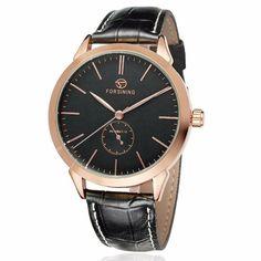 Forsining Fashion Mens Automatic Mechanical Wrist Watch Genuine Leather Band
