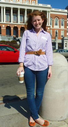 Belted shirt + orange flats.