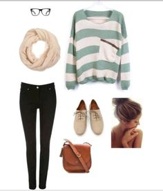 Cute, nerdy outfit. (: