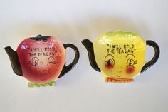 Pair of Vintage Anthropomorphic Teabag Holders Fruit Faces Teapot I Will Hold The Teabag by retrowarehouse on Etsy