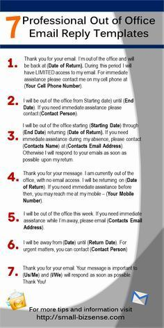 Here are 7 Professional Out of Office Email Reply Templates that you can use when you are away from the office...