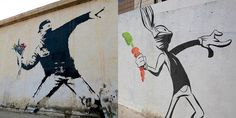 Iconic Banksy Art Gets Parodied with Famous Cartoon Characters - My Modern Met