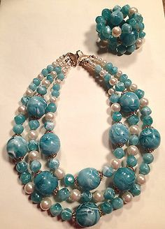Vtg 3 Strand Turquoise Marbled Chunky Bead Faux Pearl Necklace Wrap Bracelet | eBay