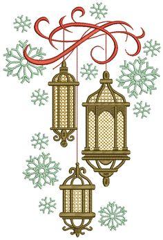 Machine Embroidery Design Christmas lanterns - 4 sizes Types Of Embroidery, Hand Embroidery Designs, Diy Embroidery, Christmas Lanterns, Christmas Paper, Handmade Christmas, Eid Card Designs, Ramadan Cards, Ramadan Background