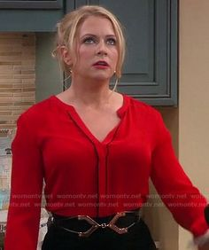Melissa's red blouse with black piping on Melissa and Joey.  Outfit details: http://wornontv.net/17426/