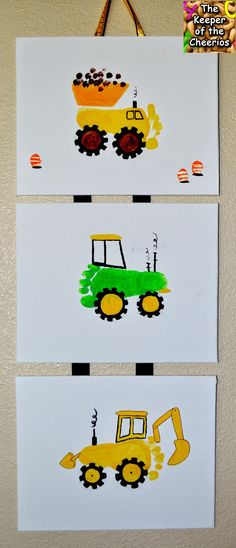 Construction Site Footprint Craft - A great activity for a Kids Construction Party / The Keeper of the Cheerios Kids Crafts, Baby Crafts, Toddler Crafts, Crafts To Do, Projects For Kids, Baby Footprint Crafts, Santa Crafts, Construction Crafts, Construction Birthday