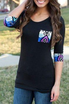 Black Patchwork Pockets Three Quarter Length Sleeve Slim T-Shirt - T-Shirts - Tops