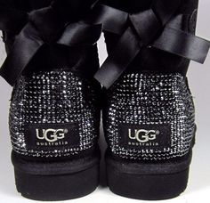 Swarovski Crystal Embellished Bailey Bow Uggs in Jet Hematite Crystals - Winter / Holiday Bling UGGs