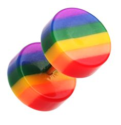 "Rainbow Stripe Acrylic Fake Plug - 16 GA (1.2mm) - Ball Size: 5/16"" (8mm) - Sold as a Pair - Sold as a Pair"