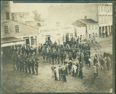 Civil War Regiment in Formation:  Regiment standing in formation in St. Joseph, Missouri