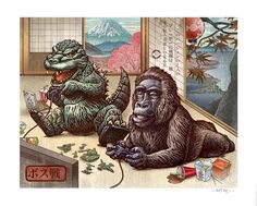 Godzilla and King Kong Battle It Out! by Chet Phillips Illustration. www.createwhimsy.com