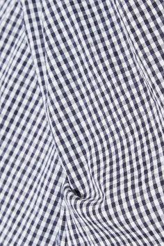 Midnight-blue and white cotton-blend seersucker Button fastening at neck  75% cotton, 23% polyamide, 2% elastane  Dry clean